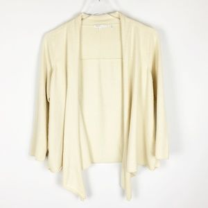 Vince Ivory Cashmere Waterfall Open Cardigan M